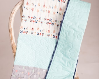 Tribal Modern Quilt \\ Baby Quilt \\ Nursery Crib Quilt Bedding \\ Crib Bedding \\ Teepee and Arrows