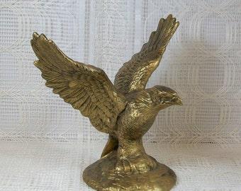 Gold Eagle Statue / Bird Figurine / Ceramic Bird / Gold Bird / Eagle Figurine