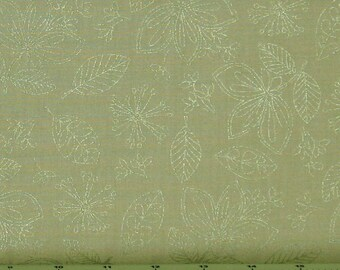 Green Wild Flowers Metallic 100% Cotton Quilt Fabric Blender for Sale, Pearl Essence Collection by Maywood Studios MAS112-G