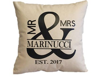 Personalized Pillow, Wedding Pillow, Monogrammed Pillow, Wedding gift, Family Pillow, Housewarming Gift, Personalized pillow