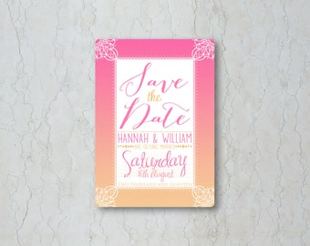 Pink Sunset Wedding Save the Date Card or Magnet