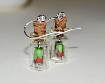 Bottle Earrings, Red Rose in Bottle, Drop Earrings, Rose Jewelry, Dangle Earrings, Red Rose Earrings, Glass Bottle Jewelry, Flower Earrings