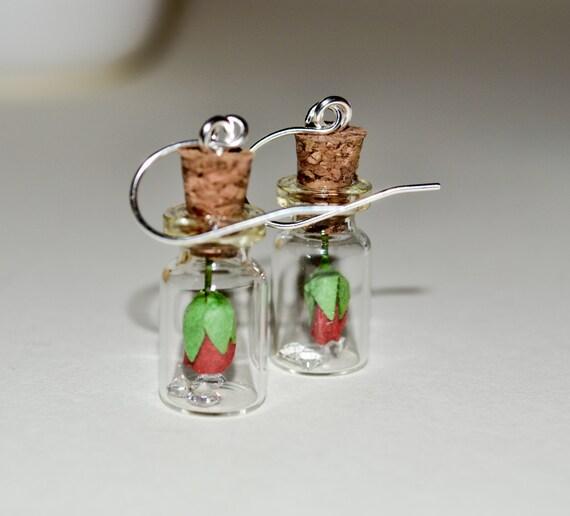 Bottle Earrings - Red Rose
