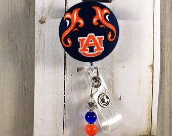 Auburn Tigers Retractable Badge Reel with Custom Beading