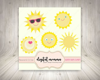 Sunny Days Clipart Set, Sunshine Clipart, Cool Sun, .PNG, Instant Download!