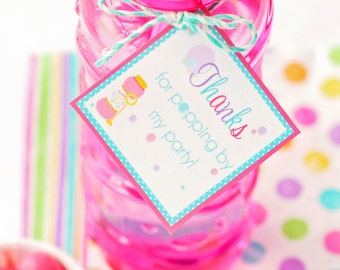 Bubble Party Gift Tags, Bubble Party Favor Tags, Bubble Party Favors, Bubble Birthday Party, Bubble Party Printables, Girls Bubble Party