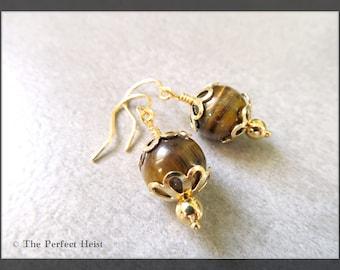 Earrings, Gold, Tiger Eye, Brown, Earth Tones