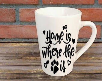 Paw Print Home Dog Cat Mug Coffee Cup Gift Home Decor Kitchen Bar Gift for Her Him Any Color Personalized Custom Jenuine Crafts