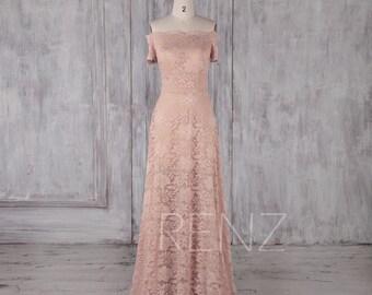 Bridesmaid Dress Peach Lace Dress,Wedding Dress,Off the Shoulder Formal Dress,Straight Across Neck Maxi Dress,Long A-Line Prom Dress(LL490)