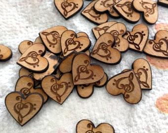 Music Note Wooden Heart Confetti