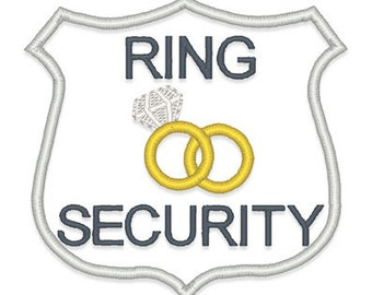 Bride Groom Wedding Embroidery Design Set Instant Download - Ring security badge template