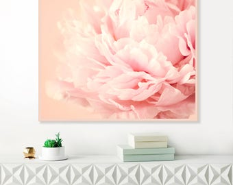 Pink Peony Print, Blush Pink Peonies, Flower Photography, Peony Art, Nursery Decor, Extra Large Wall Art