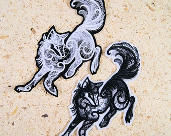 Wolf Midnight Creatures Baroque Iron On Embroidery Patch MTCoffinz - Choose Size / Color
