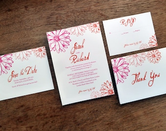 Printable Wedding Invitation Set - Pink and Red Daisies - Instant Download Wedding PDFs - Invite, Save the Date, RSVP, Info Card & Thank You