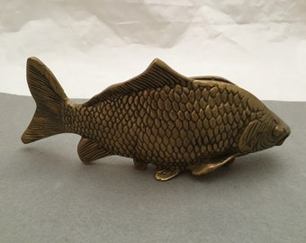 Brass Fish Letter Holder Figurine Paperweight  Desk Accessory
