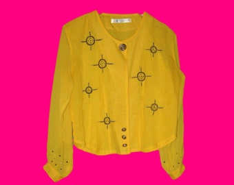 Vintage 80's 1980's Women Eighties Office Work Career Ladies Chinese Designer Shirt Bright Yellow Blouse