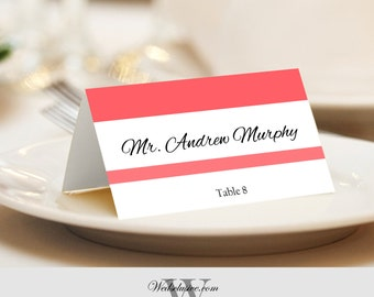 Wedding Place Cards, Coral Pink, Bold Name Cards, Tented or Flat - Set of 12