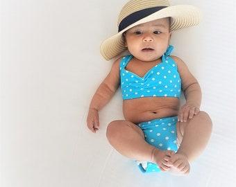 SALE Light blue & white polka dot retro vintage bikini Baby girl sizes 0-18 months