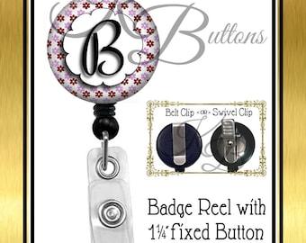 Custom Badge Reel, Flower Wreath Badge Reel, Custom Initial Badge Reel, Retractable Badge Reel, Secretary Gift, Coworker Gift, BRN009