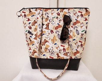 Tote Bag with Dogs, Vinyl Bottom, Large Purse with Dogs and Pockets, Tote with Puppies, Washable, Travel Bag with Dogs, Weekend Bag Dogs.