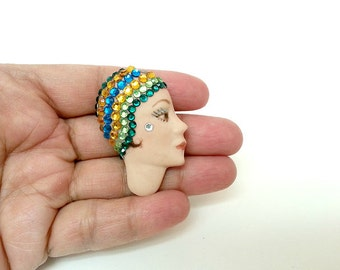 vintage LADY &  her GLITTERY CLOCHE brooch