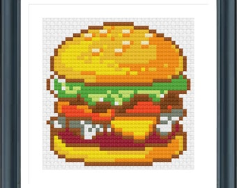 Hamburger Cross Stitch, Counted Cross Stitch, PDF Pattern, INSTANT DOWNLOAD