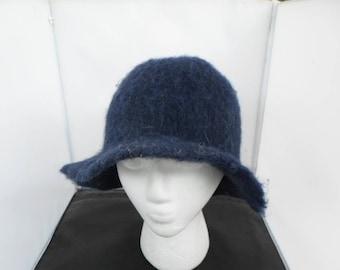Navy Blue Floppy Brim Felt Hat