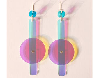 Oversized iridescent earrings No 1