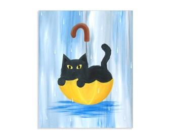 Rainy Day Kitty - Black Cat in Yellow Umbrella - Whimsical Cute Cat Artwork