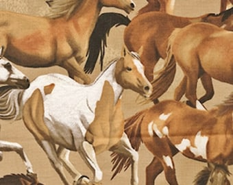 Fat Quarter Wild Wild West Horses Mustang Cotton Quilting Fabric Benartex 8023