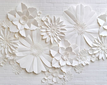Handmade Paper Flower Wall Installation