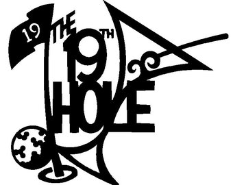 19th hole golf image DXF file for laser, plasma, or router
