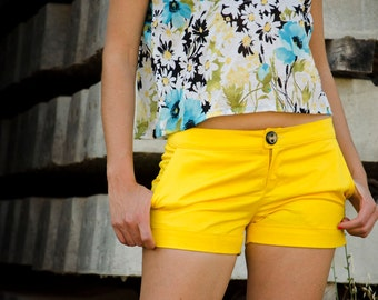 Yellow Mid Rise Shorts, Summer Cotton Shorts, Women Short Pants