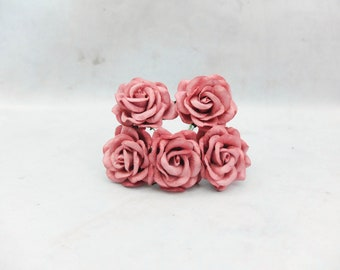 5 35mm warm raspberry dusty rose paper roses - round - 3.5 cm mulberry roses