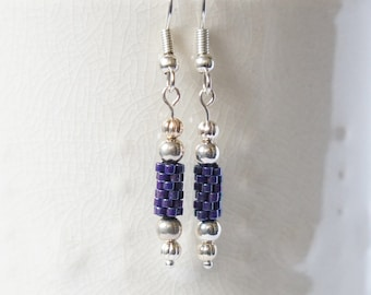 Seed Bead Earrings, Peyote Tube Earrings, Delica Earrings, Beaded Earrings, Midnight Purple Earrings, Seed Bead Tubes, Small Earrings