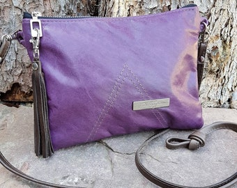 Purple Leather Cross-body Purse Clutch Handbag with Tassel