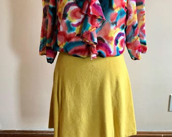 60s Sweater Skirt, Knit Skirt, Ladies Vintage, 1960s, Knit, Yellow, Size L, Size XL, Yellow Skirt, Womens Vintage Clothing, Stretch