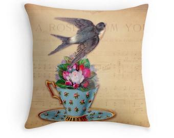 Tea Decor, Tea Cups Vintage, Swallow Cushion, Vintage Decor, Pink Roses, Tea Roses, Birds and Flowers,Vintage Bird Cushion,Gift for Musician