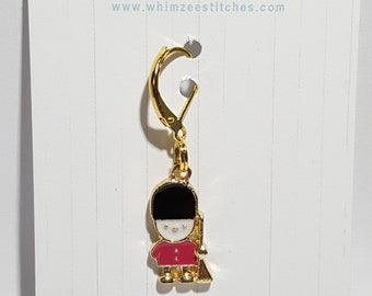 Little London Bobby Enamel Progress Keeper - Stitch Marker - Gold Lever Back earring finding - PK0047