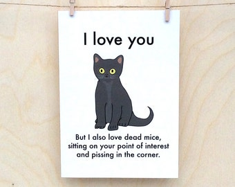 I love You Cat Card, Funny valentines card, funny love card, funny cat card, love cat