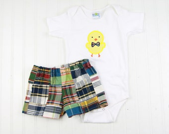 Easter Outfit for Baby - Boys Easter Bodysuit - Patchwork Plaid Shorts Set - Infant Boy Easter Shorts Outfit - Chick Shirt - Monogram Easter