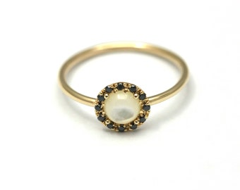Round Gold Ring, Mother of pearl Ring, Black Diamond Ring, Simple Diamond Ring, Simple Gold Ring, Women Gold Ring, Engagement Gold Ring,