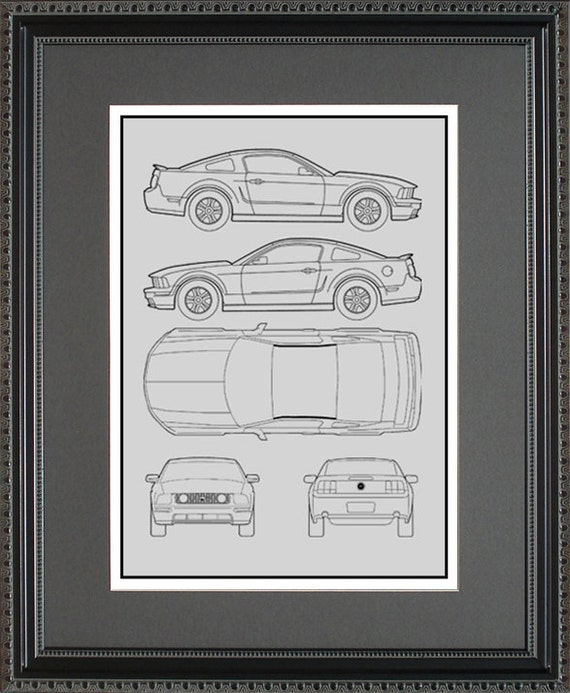 Ford mustang blueprint framed art car auto gift choose your malvernweather Images