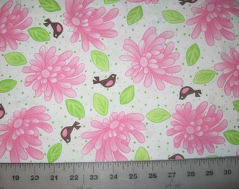 "Birdie by Me and My Sister Designs pink flowers and birds on white fabric 17"" X 42"""