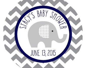 Personalized Elephant Baby Shower Stickers - Elephant Baby - Navy and Grey Chevron Elephant Baby Labels - Elephant Sticker - Elephant Labels