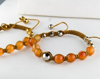 Carnelian and Pyrite Adjustable Bracelet