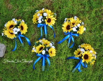 Sunflower Bouquet Royal Blue, Rustic Wedding Bride or Bridesmaids Flowers