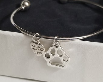 SALE Made with Love Silver Cuff Bracelet with Paw Print and Heart Charm