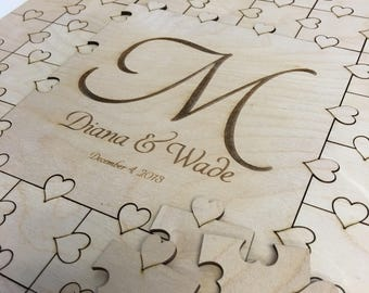 50-300 piece Puzzle Guest Book Wedding Guest Book Large Letter Alternative Guest Book Hearts GuestBook Unique Guestbook Wedding Book Heart