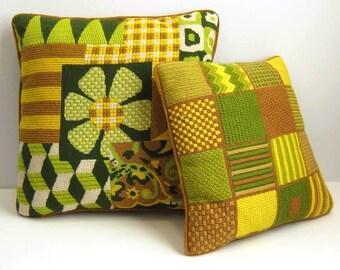 Vintage Bargello Needlepoint Velvet Yellow and Green Pillow Samplers - Set of 2 Daisy Flower Geometric Mod Fiber Art Decorative Pillows